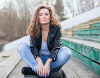 Beautiful girl in leather jacket Royalty Free Stock Photos