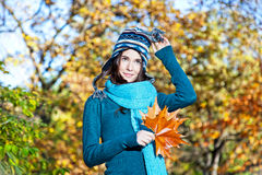 Beautiful girl with leaves on an sunny autumn-day Stock Photos