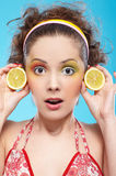 Beautiful girl with lemon Stock Image