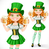 Beautiful girl leprechaun hold a two goblets of beer Royalty Free Stock Photos