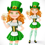 Beautiful girl leprechaun offers a beer Stock Photo
