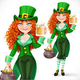 Beautiful girl leprechaun with pot of gold offers a beer Stock Images