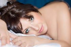 The beautiful girl lies Stock Photos