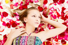 Beautiful girl lies in the petals of roses Stock Images