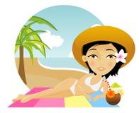 Beautiful girl lies on a towel in the beach. Beautiful girl lies on a towel with a cocktail Stock Photos