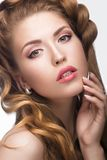 Beautiful girl with a light Nude make-up and blond Stock Image