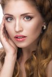 Beautiful girl with a light Nude make-up and blond Royalty Free Stock Image
