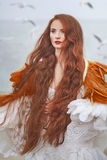 Beautiful girl like a swan on the beach. Beautiful girl with red hair walking along the seashore. winter photos Royalty Free Stock Photos