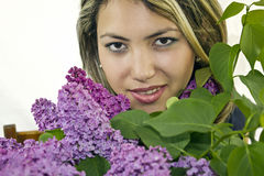 Beautiful girl with lilac Stock Image