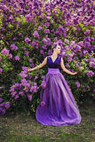 Beautiful girl in lilac ball dress among the flowers Royalty Free Stock Photography