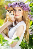 Beautiful girl with lilac flowers is holding chuhuahua dog Stock Photos