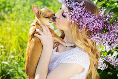 Beautiful girl with lilac flowers is kissing chuhuahua dog Royalty Free Stock Images