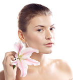 Beautiful girl with lily Royalty Free Stock Photos