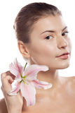 Beautiful girl with lily Royalty Free Stock Photo