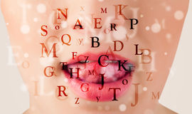 Beautiful girl lips breathing fonts and characters Royalty Free Stock Photo