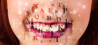 Beautiful girl lips breathing fonts and characters Stock Photography