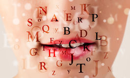 Beautiful girl lips breathing fonts and characters Royalty Free Stock Photography