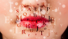 Beautiful girl lips breathing fonts and characters Stock Image