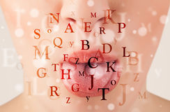 Beautiful girl lips breathing fonts and characters Stock Images