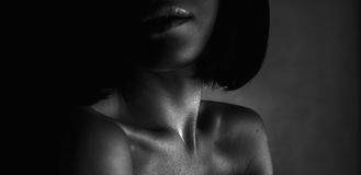 Beautiful girl lips, neck and shoulders Stock Images