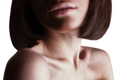Beautiful girl lips, neck and shoulders Royalty Free Stock Photography
