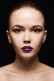 Beautiful Girl with liquid lips gloss Stock Photos