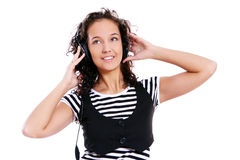 Beautiful girl listen music Royalty Free Stock Photo