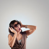 Beautiful girl listen to music Royalty Free Stock Images