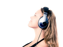 Beautiful girl listening music Royalty Free Stock Images