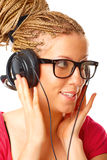 Beautiful girl listening to the music Stock Photos