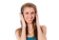 Beautiful girl listening to the music Royalty Free Stock Photos