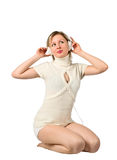 Beautiful girl listening to music on headphones Royalty Free Stock Photo