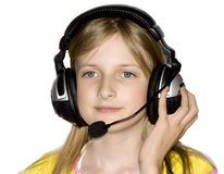 Beautiful girl listing music Royalty Free Stock Image