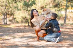 Pretty brunette girl and a little boy walking with dog in the park. Animal concept. Beautiful girl and a little boy having fun with doggie in the park outdoors Royalty Free Stock Images