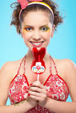Beautiful girl with lollipop Royalty Free Stock Image