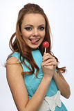 Beautiful girl with Lollipop. Beautiful girl enjoys the candy-Lollipop Stock Photos