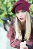 Beautiful girl with long blond hair and blue eyes Stock Photos