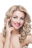 Beautiful girl with long blond hair stock images