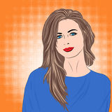 Beautiful girl with long brown hair in blue dress on orange retro background vector illustration