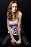 Beautiful girl with long brown hair in casual clothes Royalty Free Stock Photo