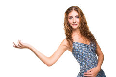 Beautiful girl with long curly hair on isolated white background Royalty Free Stock Image