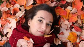 Beautiful girl long dark hair decorated with autumn leaves. Beautiful girl lying, long dark hair decorated with autumn leaves. portrait of a young woman royalty free stock photography