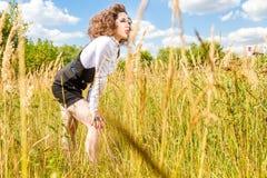 Beautiful girl with long eyelashes outdoors Stock Photo