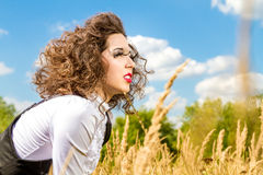 Beautiful girl with long eyelashes outdoors Stock Images
