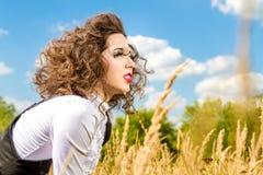Beautiful girl with long eyelashes outdoors Stock Images