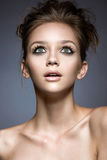 Beautiful girl with long eyelashes and perfect ski Royalty Free Stock Image