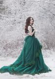 A beautiful girl in a long green medieval emerald dress walks in the forest. Fantasy tale