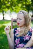 Beautiful girl with long hair Stock Photos