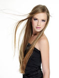 Beautiful girl with long hair stock image