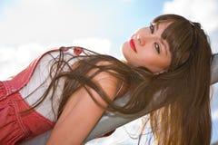 A beautiful girl with long hair Stock Photos